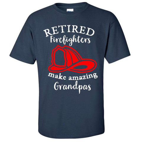 "Printed Firefighter Shirt - ""Retired firefighters make amazing grandpas"" - GIldan 200 - DTGFire Department Clothing"