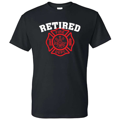 "Printed Firefighter Shirt - ""Retired"" - Gildan 200 - DTG"