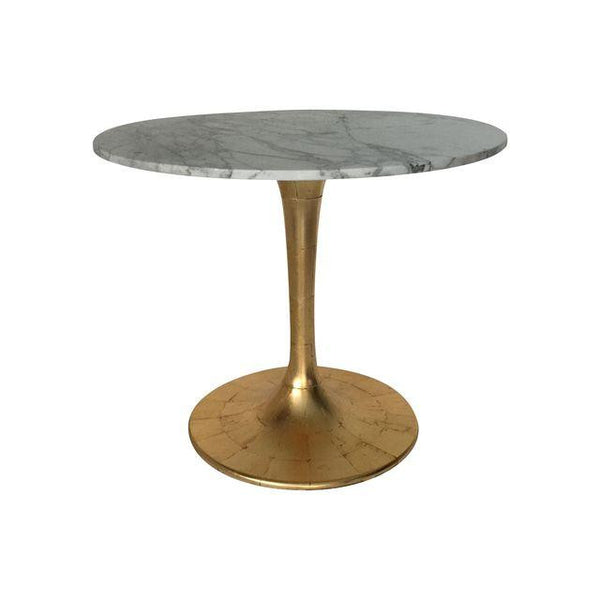 SOLD Saarinen Style Gold Leaf and Marble Table