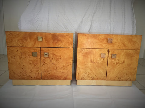 SOLD Burled Wood and Brass Cabinets, Pair