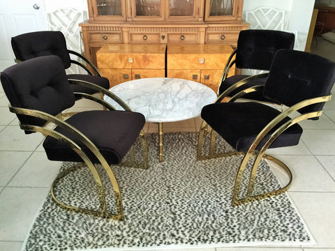 SOLD Brass Cantilevered Chairs, Set 4