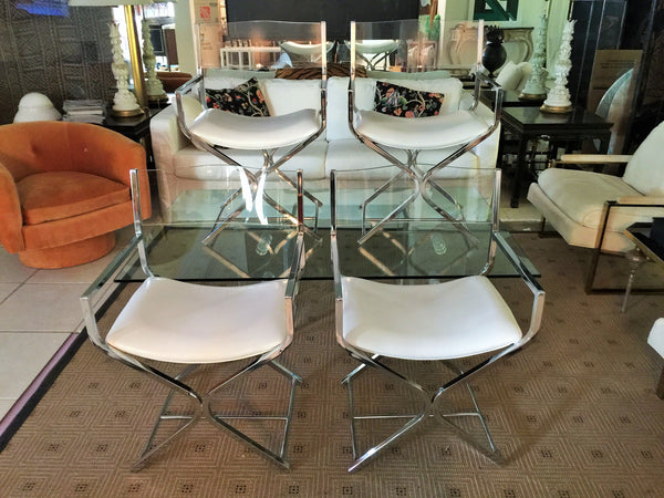 SOLD Lucite and Chrome Director's Chairs, Set 4