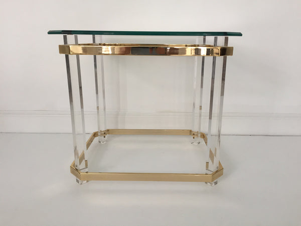 SOLD Lucite and Brass End Table