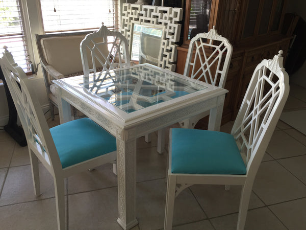 SOLD Fretwork Pagoda Chairs and Table