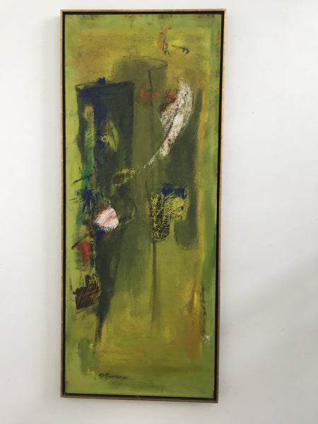 SOLD Mid Century Green Abstract Painting