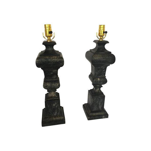 SOLD Rare Black Alabaster Lamps, Pr