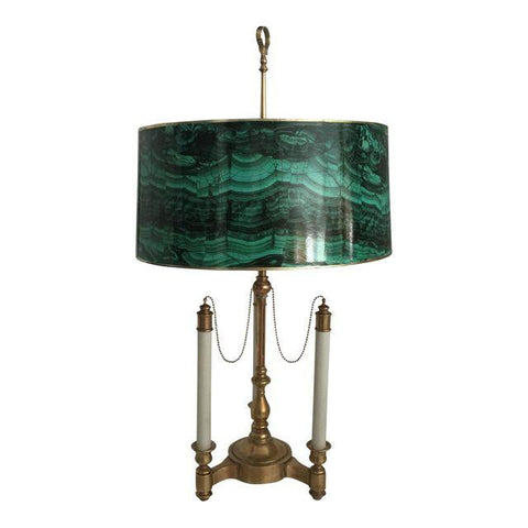 SOLD Bouillotte Lamp with Malachite Shade