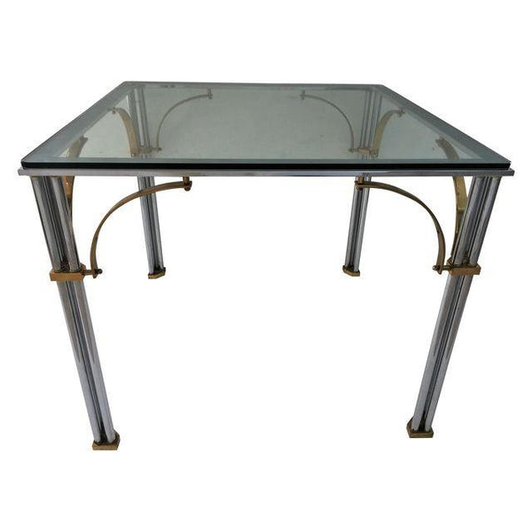 SOLD Chrome and Brass Jansen Style Table