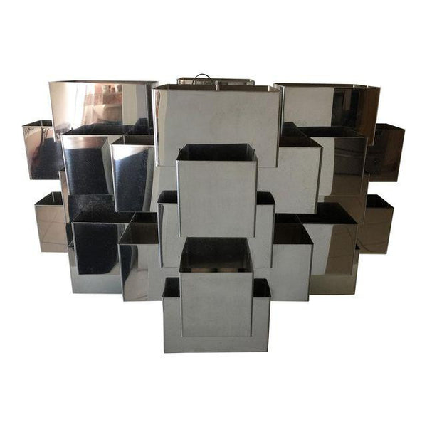 SOLD C Jere Chrome Nickel Steel Geometric Cube Chandelier