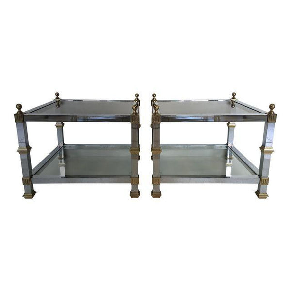 Chrome and Brass Vintage 1970's Tables, Pair