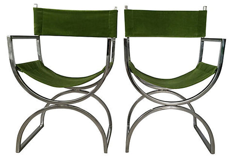 SOLD Chrome Mid Century Curule Chairs, Set 4