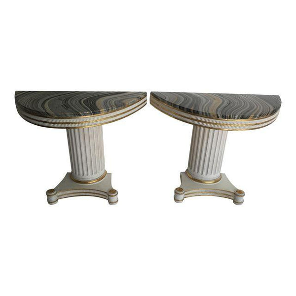 SOLD Marbelized Column Consoles, Pair