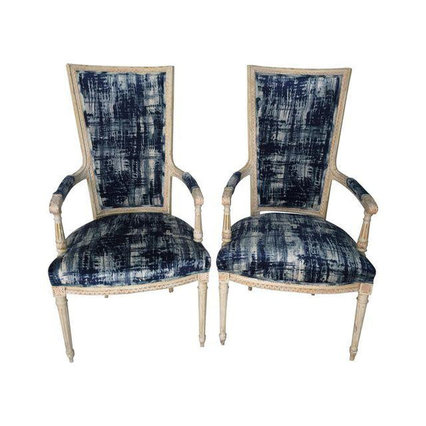 SOLD Louis XVI Style Romo Indigo Velvet Chairs, Pair