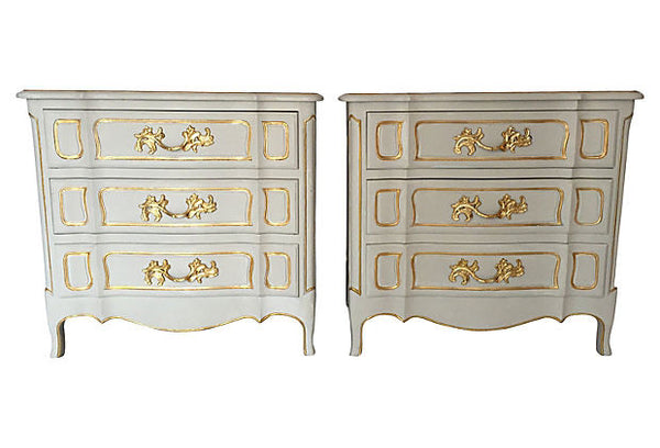 SOLD French Painted & Gilded Dressers, Pair
