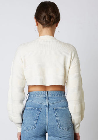 Aspen Cropped Ivory Sweater