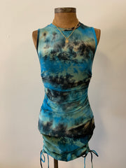 Naomi Tie Dye Ruched Dress - Light Blue