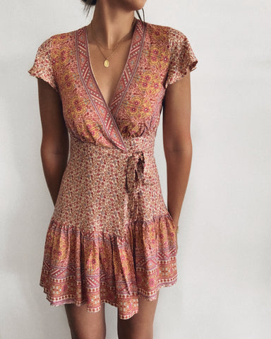 Sunset Lovers Wrap Dress