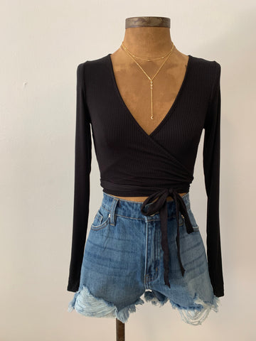 Camryn Tie Crop Top - Black