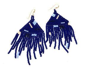 Artist Fringe Earrings - Indigo