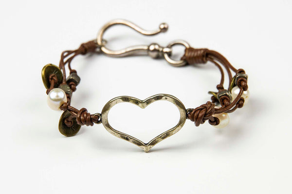 Arun - Brown Leather w/Metal Beads & Heart Pendant Bracelet