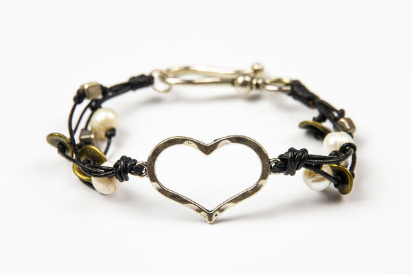 Arun - Black Leather w/Metal Beads & Heart Pendant Bracelet