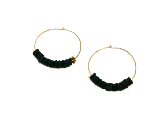 Leather Bits Earrings - Black