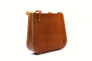Cross Stitch Handbag - Brown Leather