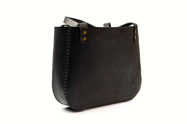 Cross Stitch Handbag - Black Leather