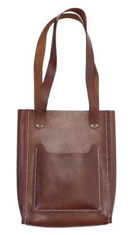 The Bucket Tote ~ Brown Leather