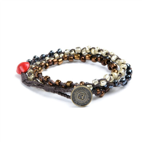 Nimol Wrap - Graphite w/ Gun Metal, Bronze and Silver Beads