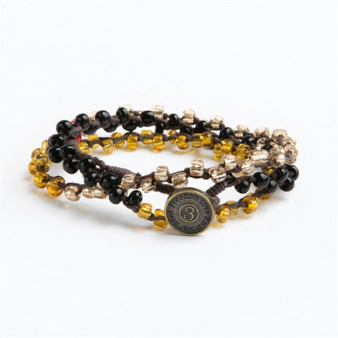Nimol Wrap - Black w/ Black, Gold and Clear Beads