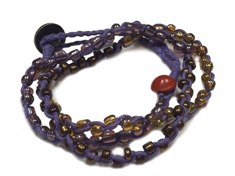 Nimol Wrap - Purple w/ Brown, Bronze and Gold Beads