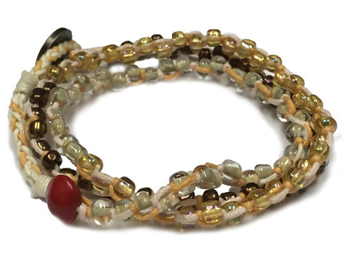 Nimol Wrap - Orange & Pink w/ Bronze, Clear and Gold Beads