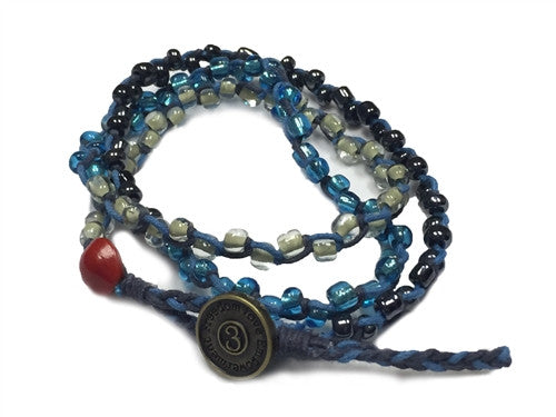 Nimol Wrap - Blue w/ Gun Metal, Clear and Turquoise Beads