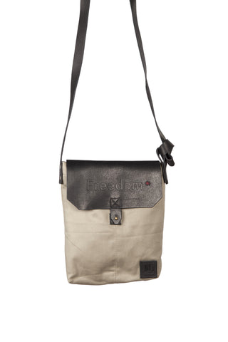 The Freedom Crossbody ~ Taupe/Grey w/Black Leather