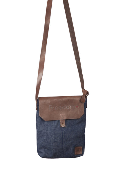 The Freedom Crossbody ~ Denim w/Brown Leather