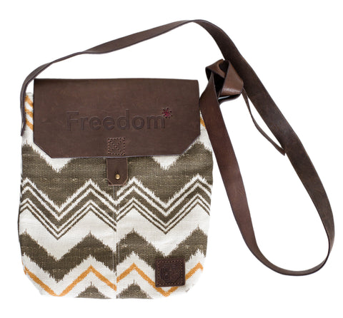 The Freedom Crossbody ~ Brown Chevron w/Brown Leather