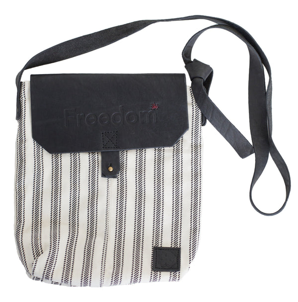 The Freedom Crossbody ~ Black Stripe w/Black Leather