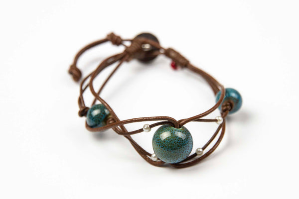Cheevet - Aqua natural stone beads on Brown Leather