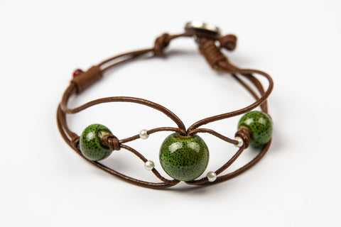 Cheevet - Olive natural stone beads on Brown Leather