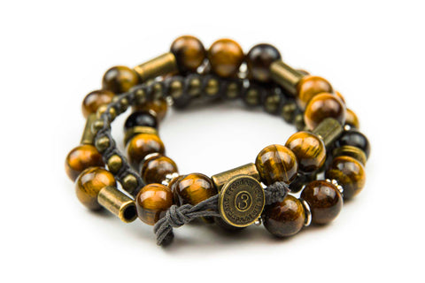 Chng - Brown w/ natural stone & burnished metal accents