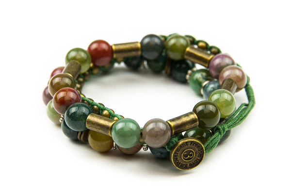 Chng - Olive w/ natural stone & burnished metal accents