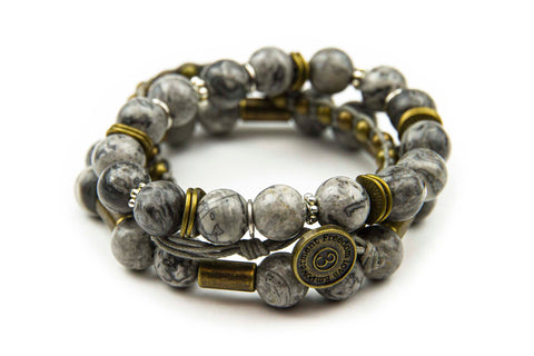Chng - Steel Grey w/ natural stone & burnished metal accents
