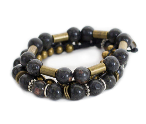 Chng - Black w/ natural stone & burnished metal accents
