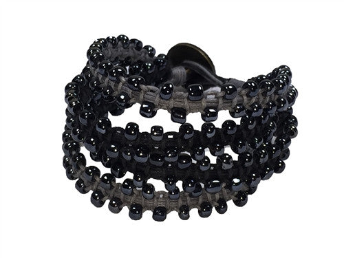 Chann - Black & Gray w/ Gun Metal Beads