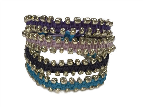 Chann - Purple & Blue w/ Silver Beads