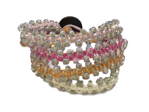 Chann - Pink & Orange w/ Clear Beads