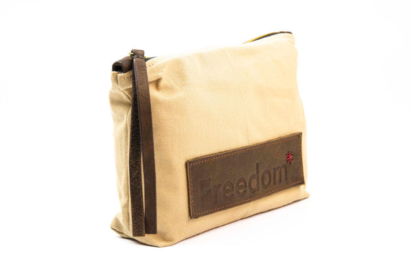 The Freedom Cosmetic Bag ~ Sand w/Brown Leather