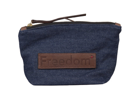 The Freedom Cosmetic Bag ~ Denim w/Brown Leather