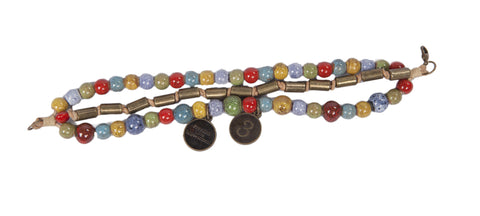 Darani - Multi Colored Ceramic & Anti Brass Beads w/Anti Brass Charms